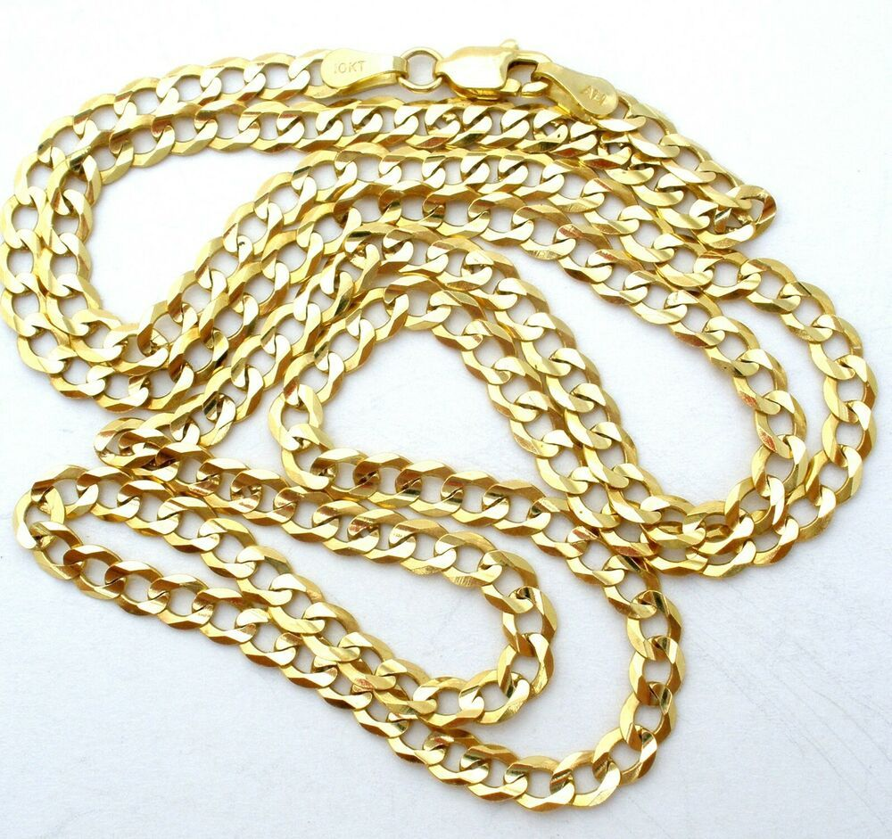 10k Yellow Gold Curb Chain Link Necklace 22 Long 7 2 Grams 3 5mm Fine Jewelry Thejewelryladysstore Chain Chain Link Necklace Fine Jewelry Link Necklace