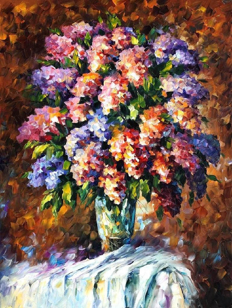 blue and red flowers palette knife oil painting on canvas by leonid afremov