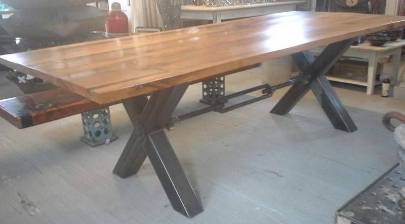 Salvage Iron Table Base | Tampa Bay Salvage » Iron U201cXu201d Base With Reclaimed  Oak Top Table
