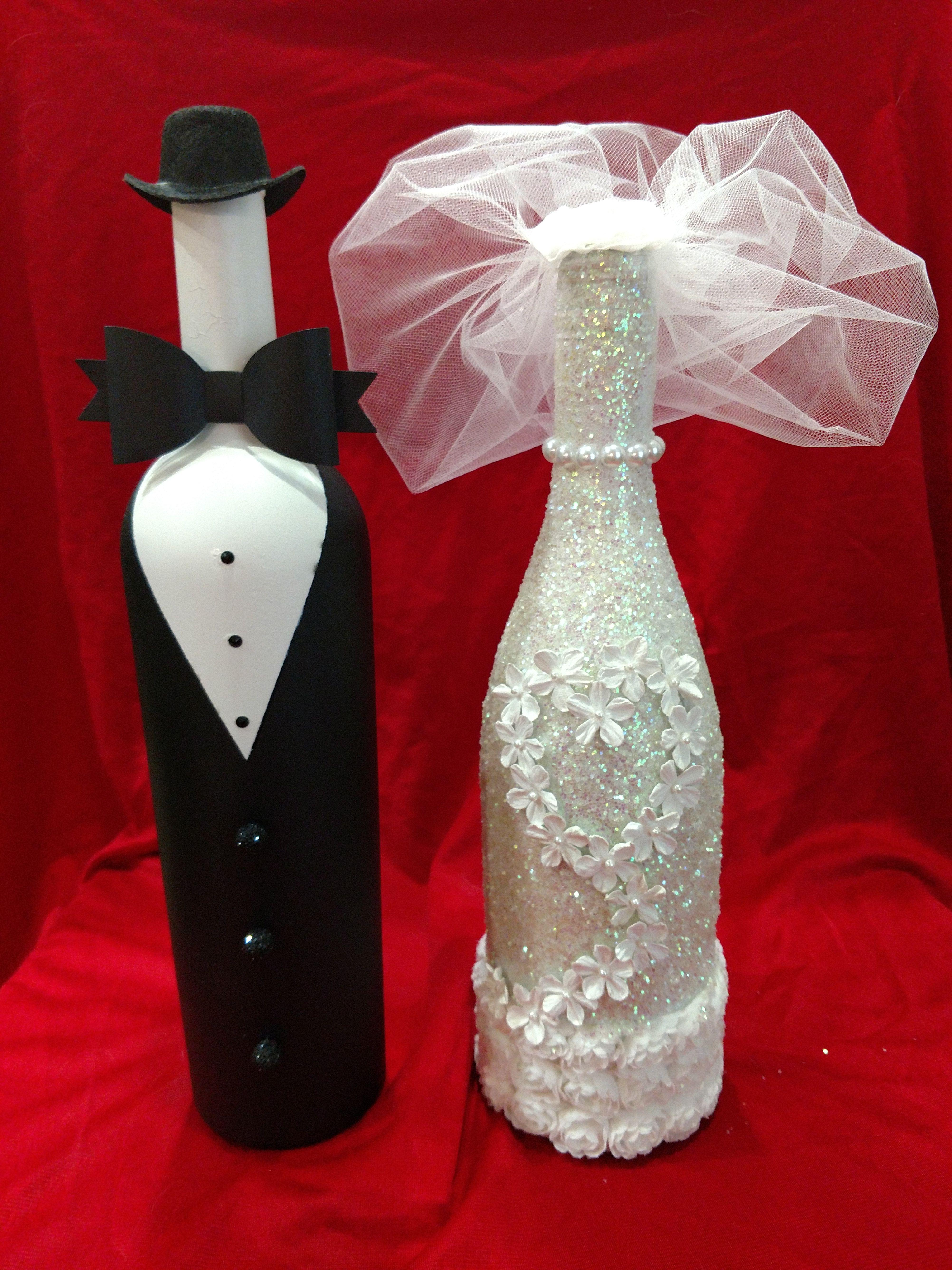 Bride And Groom Wine Bottles Wedding Wine Bottles Liquor Bottle Crafts Wine Bottle Decor