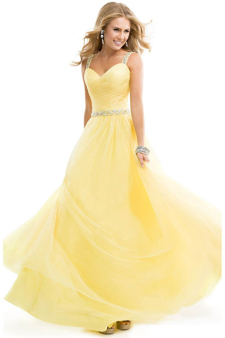 Shop 2014 Prom Dress Tulle Ball Gown With Jeweled Straps Yellow Open ...