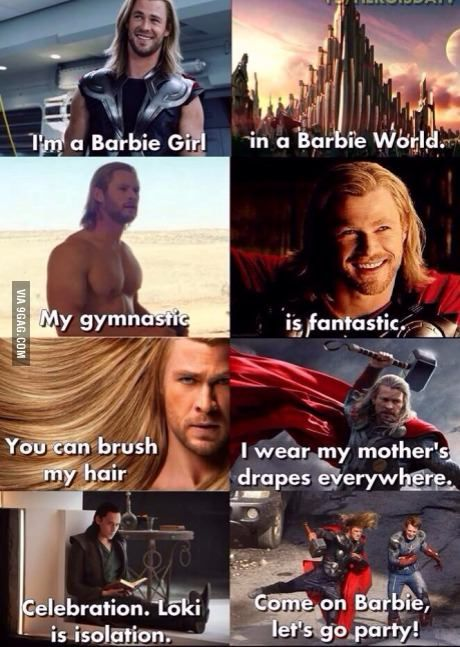 9c00fcb853c108d042e78c384238f863 i'm a barbie girl marvel, thor and loki marvel
