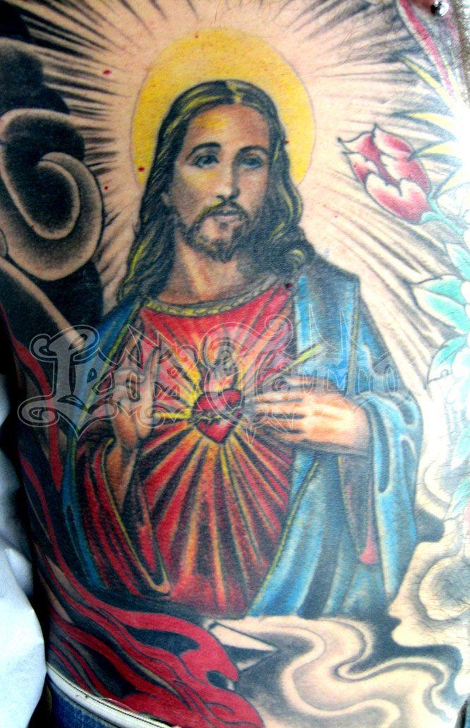 Colored Jesus Christ Tattoo On Man Side Rib Jpg 666 1031