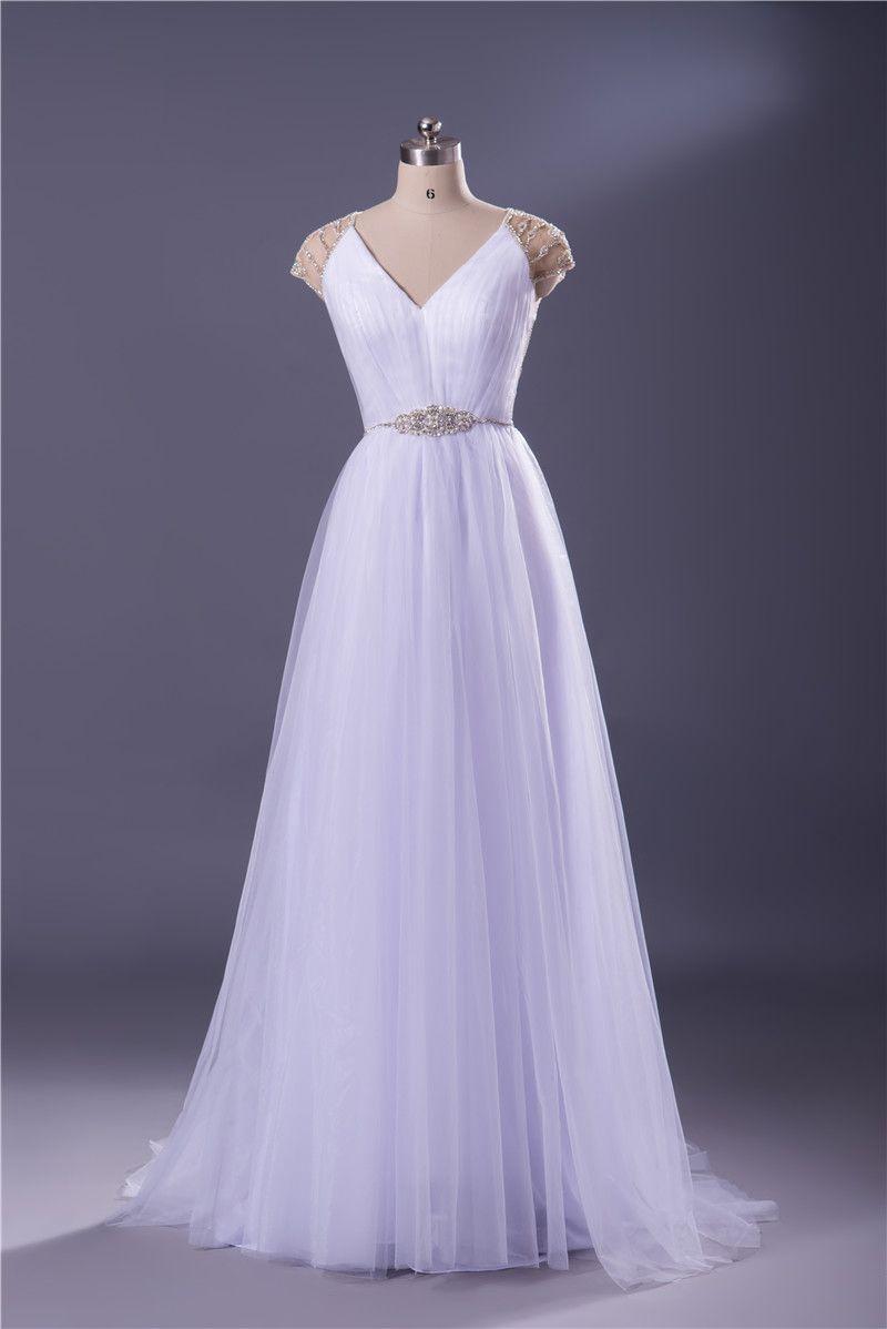Cheap wedding dresseswhite beaded sheer back wedding dress sexy