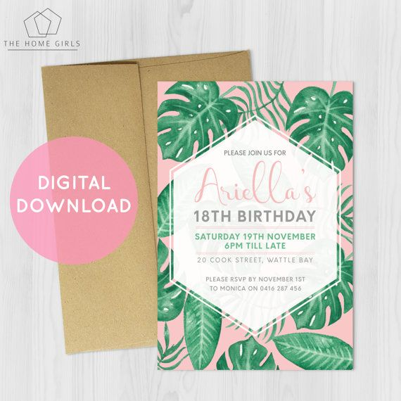 Printable Tropical Invitation / Birthday / Engagement / Palm Leaves / Monstera / Palm Springs / Blush / Green / Party / Digital Download
