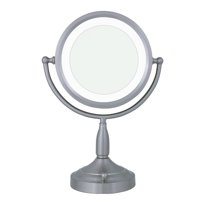 Round Dual Sided Lighted Vanity Mirror 8x 1x Lighted