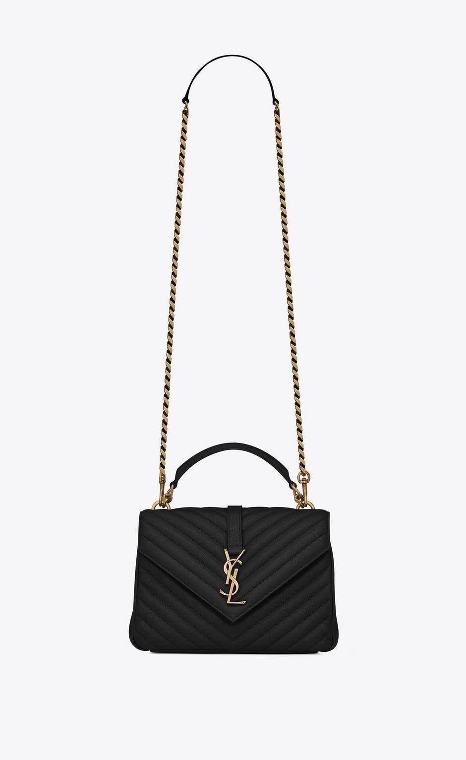 Saint Laurent Medium Collège Bag In Black Matelassé Leather And Vintage  Gold Toned Hardware  0b40042ecc25c