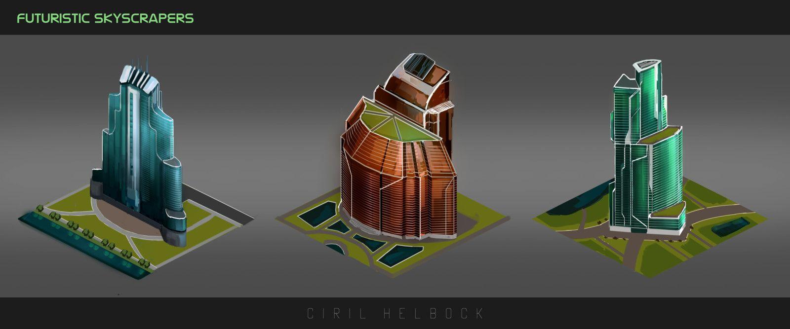 Futuristic Skyscrapers, Ciril Helbock on ArtStation at https://www.artstation.com/artwork/Wdnrv