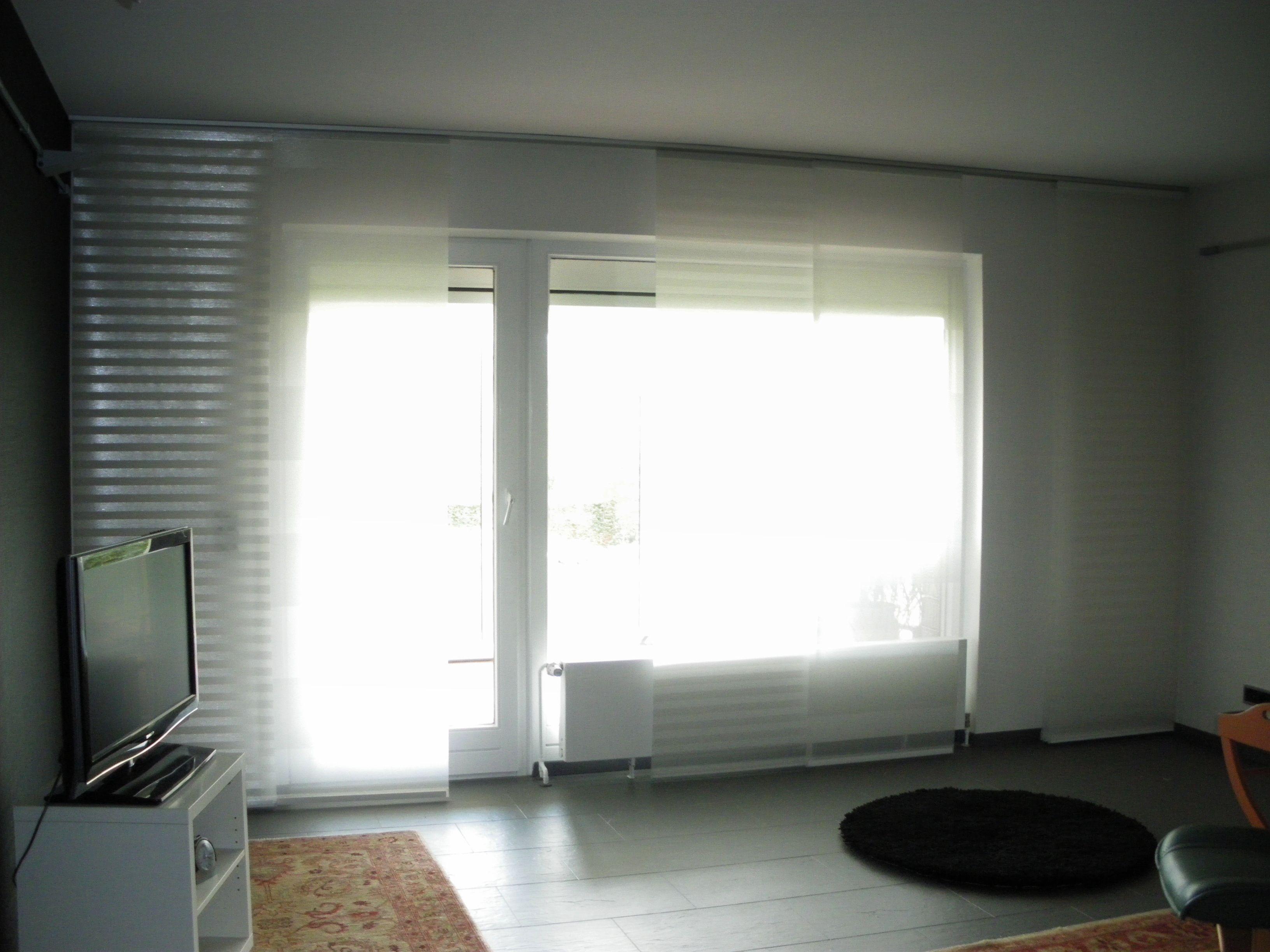 Delightful Moderne Wohnzimmer Dekoration Mit Flächenvorhängen, Deckenschiene  Mehrläufig Aus Aluminium, Paneele Glänzend Und Matt