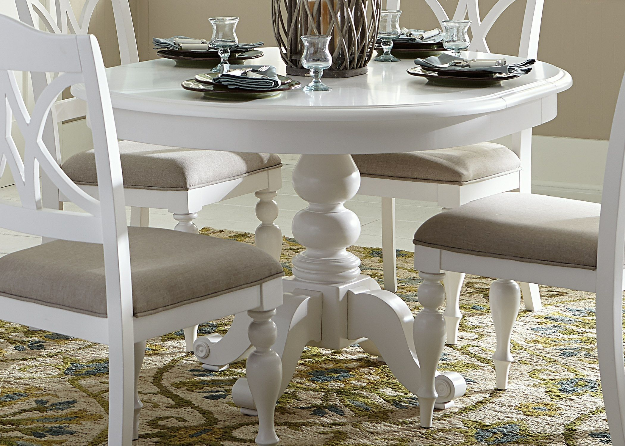 round dining table. Summer House Oyster White Round Pedestal Dining Table