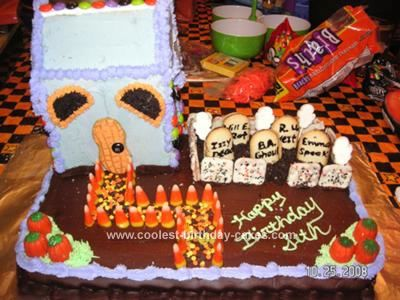 Coolest Haunted Cemetery Halloween Birthday Cake Halloween