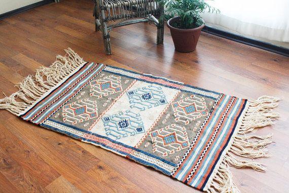 Turkish Anatolian - handwoven kilim rug - antique - natural wool