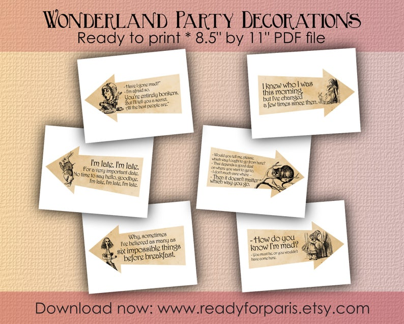 8 Alice in Wonderland Themed Playing Cards-Table Decorations balises Toppers