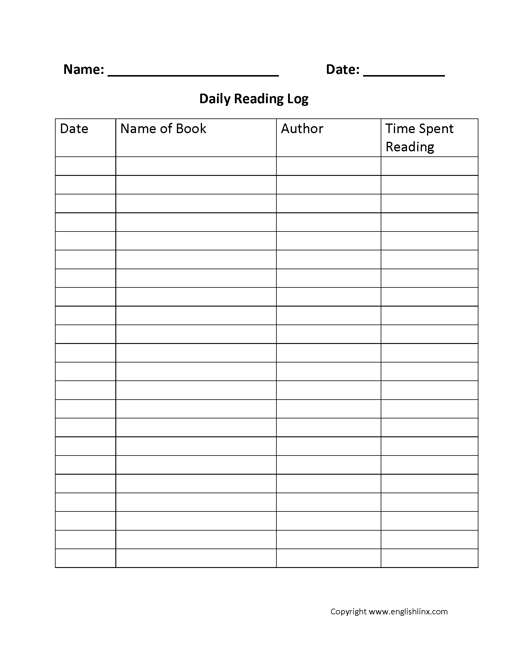 Pin About Reading Log Printable Reading Worksheets And