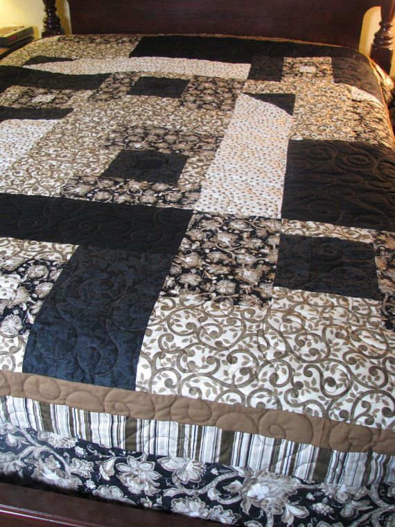 Queen Quilt  Black and Brown Art Quilt by carolboyer on Etsy