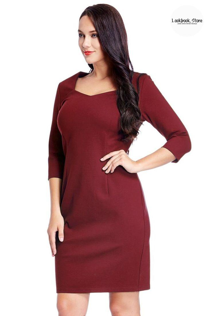 plus size burgundy decollete neckline pencil dress   neckline
