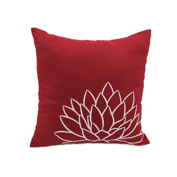 Red White Pillow Cover, Lotus Floral Embroidery Cushion, Red ...