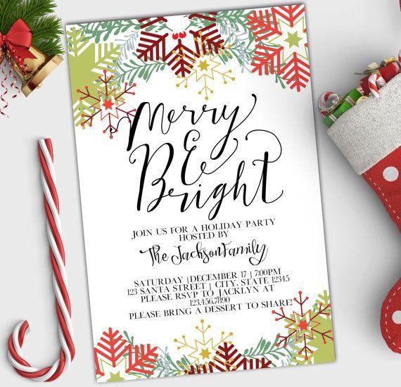 Invitación De Fiesta De Vacaciones Feliz Y Brillante