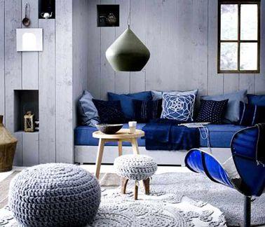 dco salon bleu et gris ambiance cosy - Salon Bleu Et Gris