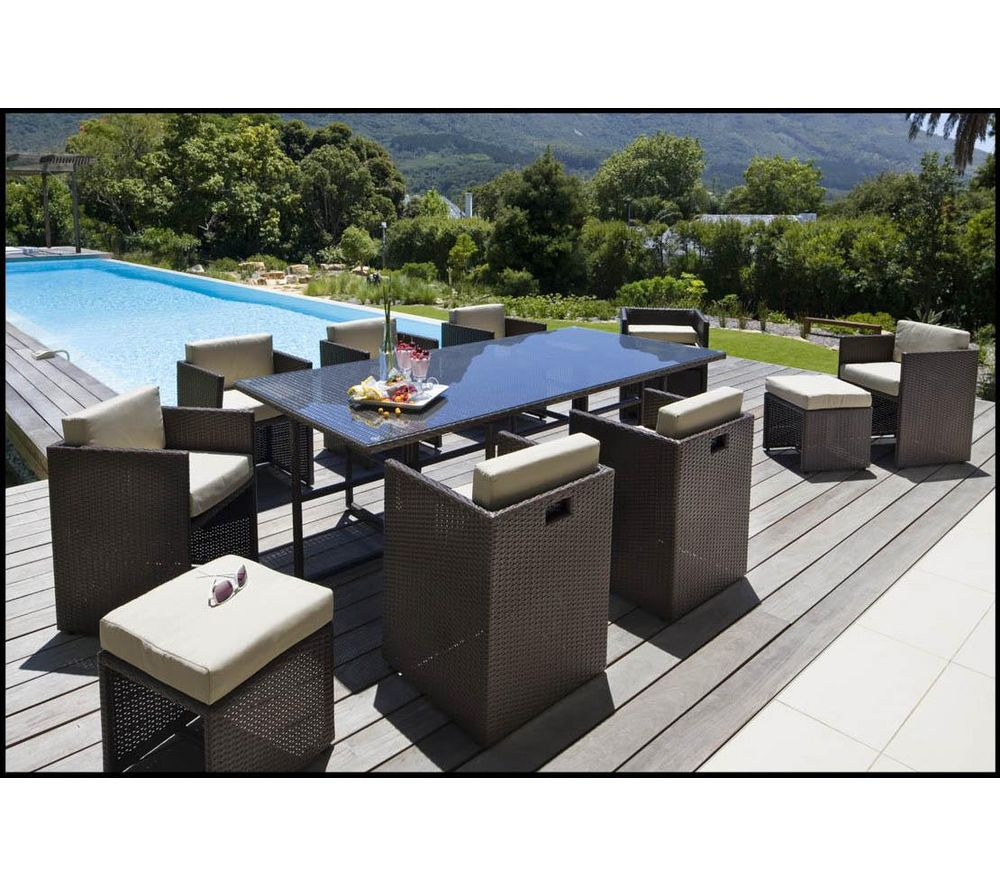 carrefour ensemble table et 8 fauteuils de jardin set riverside wicker en acier et fibre de. Black Bedroom Furniture Sets. Home Design Ideas