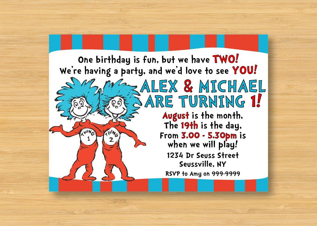 Dr Seuss Thing 1 And 2 Invitation