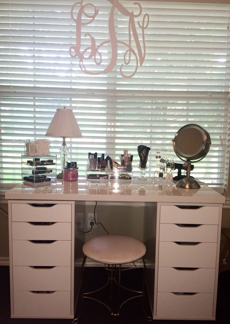 Bureau Adulte Ikea Makeup Vanity Using Ikea Alex Dupe Drawers Rangement Makeup
