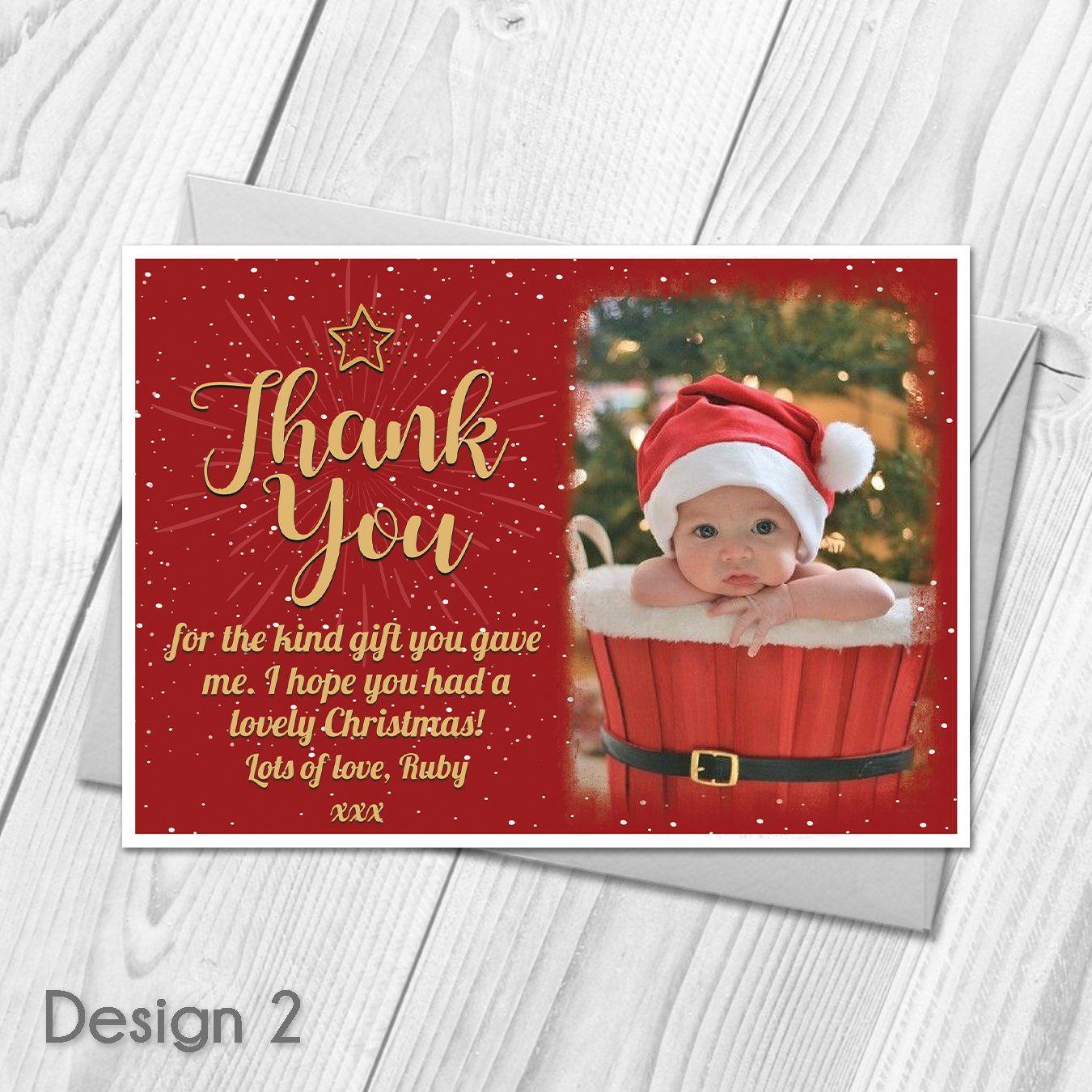 Personalised Christmas Thank You Cards  Festive Xmas Photo Thank