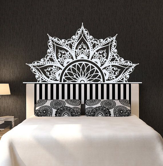 Half Mandala Headboard Wall Decal Headboard Decal