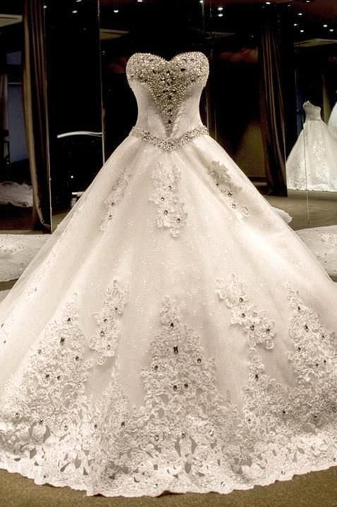 d9a7f7062a1 Luxurious Sweetheart Ball Gown Wedding Dress 2016 Crystal Beadings Long  Train High Quality Wedding Dresses
