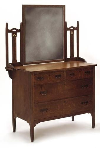 Luce Furniture Co Grand Rapids Mi Dresser Inlaid Arts Crafts Design In Pewter And Ebony At Back Supports Original Mirror Over Two Half Drawers