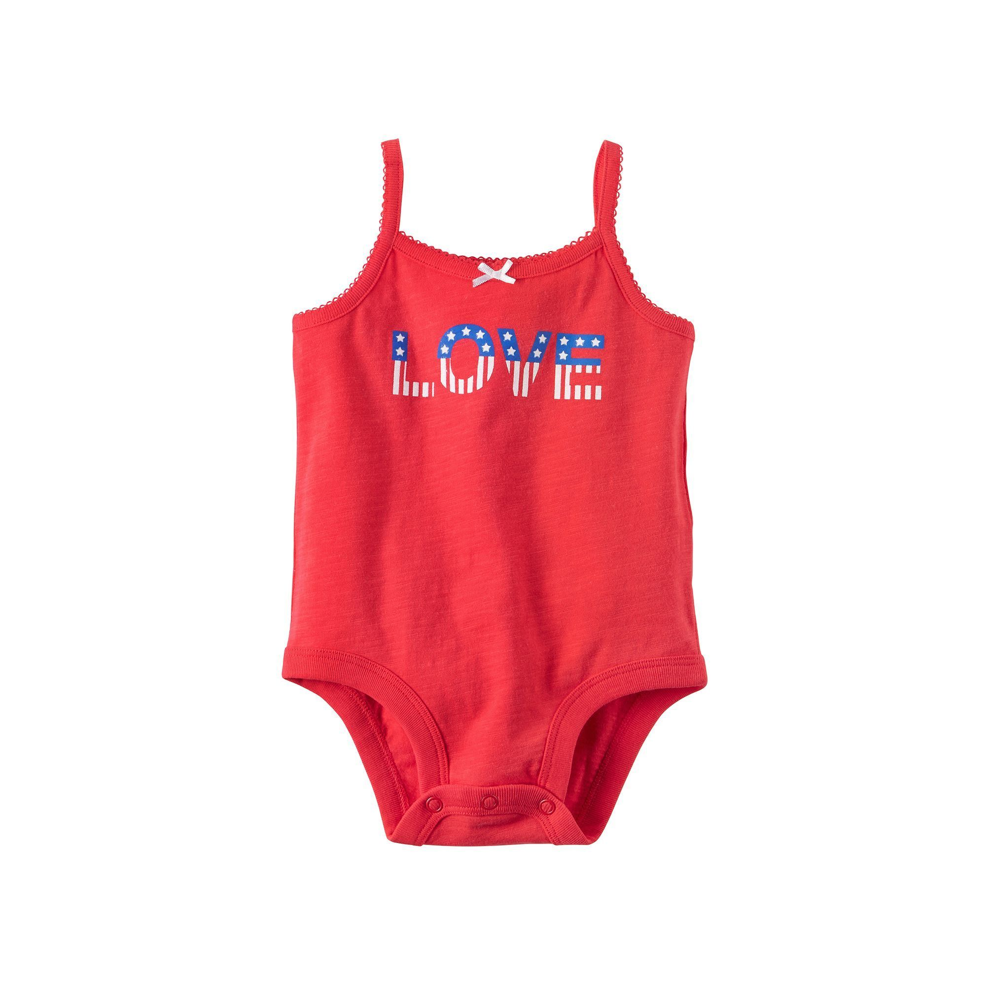 """Baby Girl Carter s """"love"""" Patriotic Bodysuit Size 12 Months Red"""