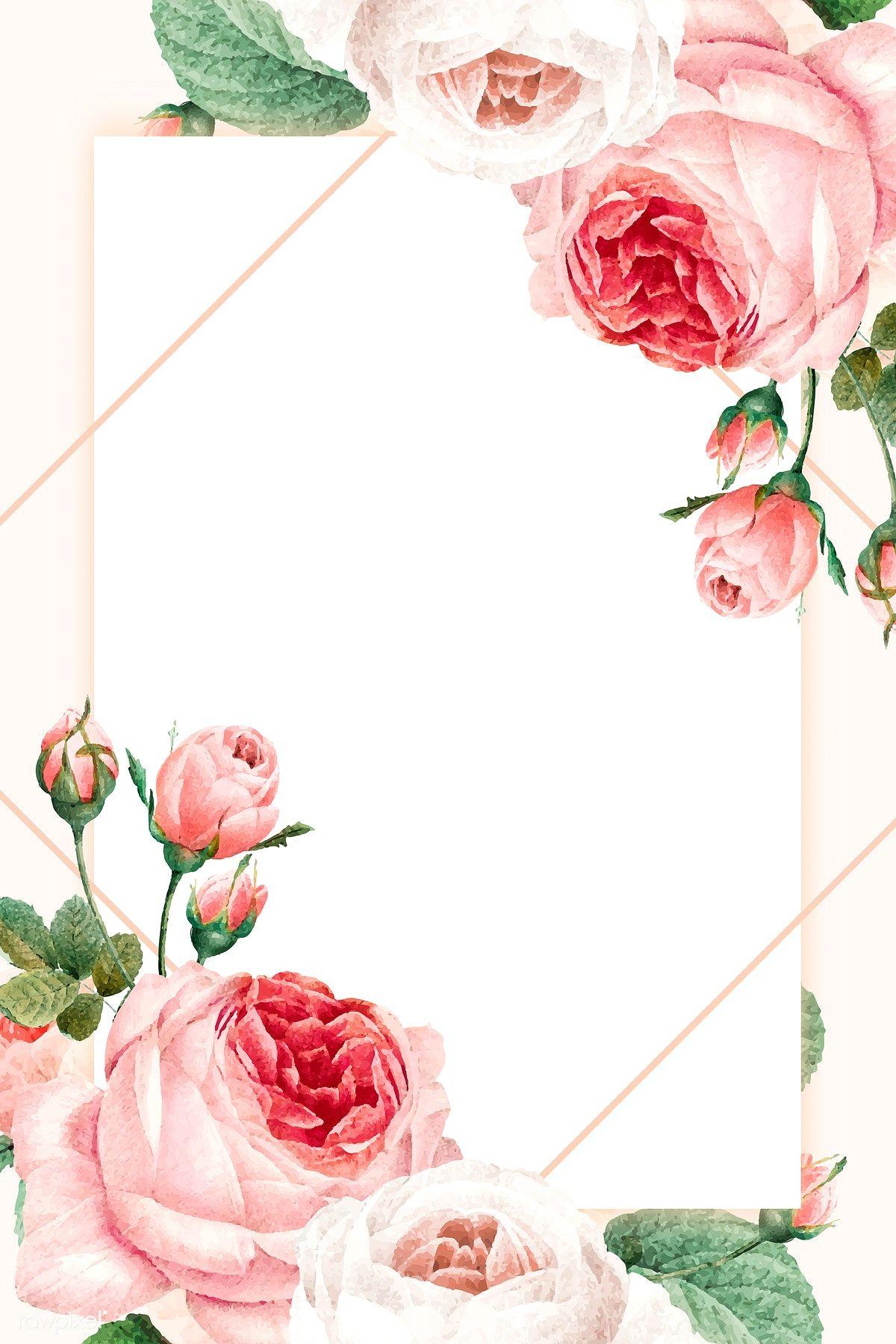 Download Premium Vector Of Blank Golden Square Frame Vector 1216075 Flower Frame Flower Background Wallpaper Flower Illustration