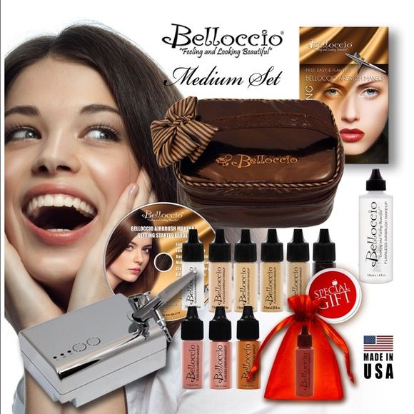 Belloccio Airbrush Makeup system Belloccio Professional Beauty Airbrush Cosmetic Makeup System with 4 Medium Shades of Foundation for Women brand new still in box Makeup Foundation