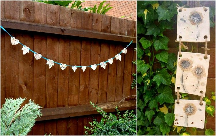 Töpfern Ideen Garten Einfache Girlande Gartendeko Ton Arbeiten