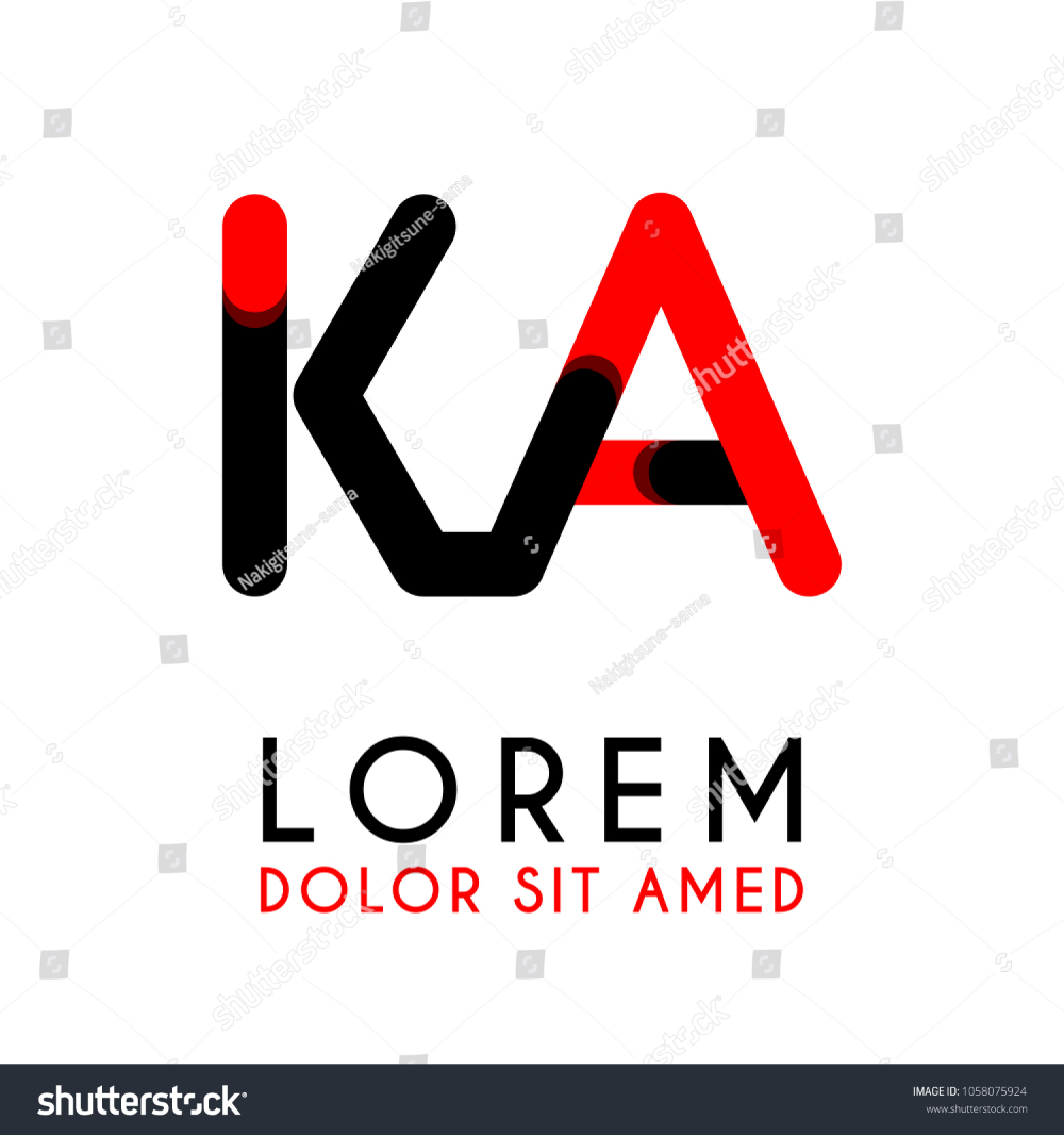 Initial Letter Ka With Red Black And Has Rounded Corners Alphabet Logo Stock Promo Offer Discount Alphabet Logo Font Template Symbol Vector Design Sig