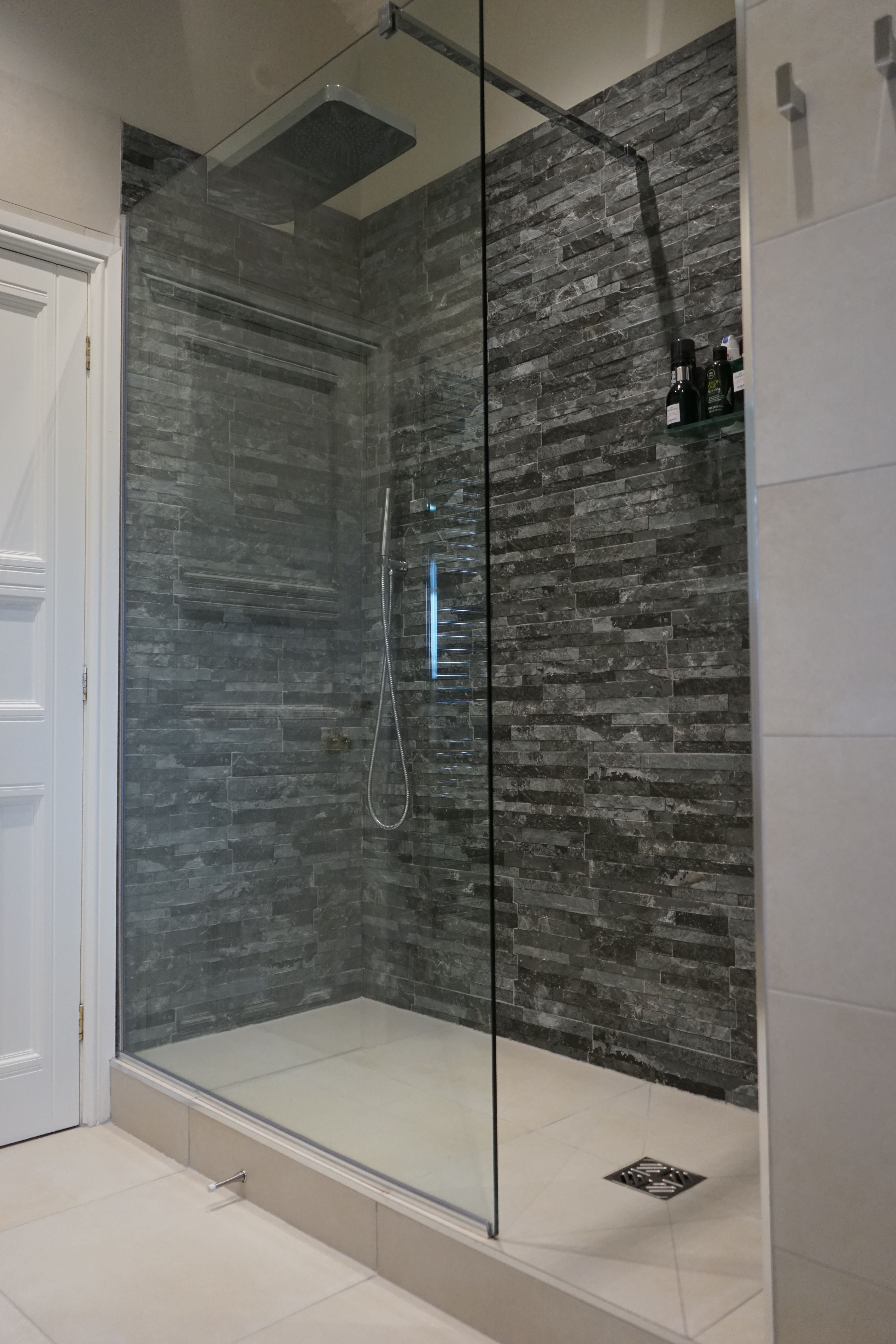 Walk In Shower With Slate Block Tiles And Raised Wet Room Floor Wetrooms Walk In Shower With Slate Block Tiles Ensuite Shower Room Wet Rooms Wet Room Bathroom