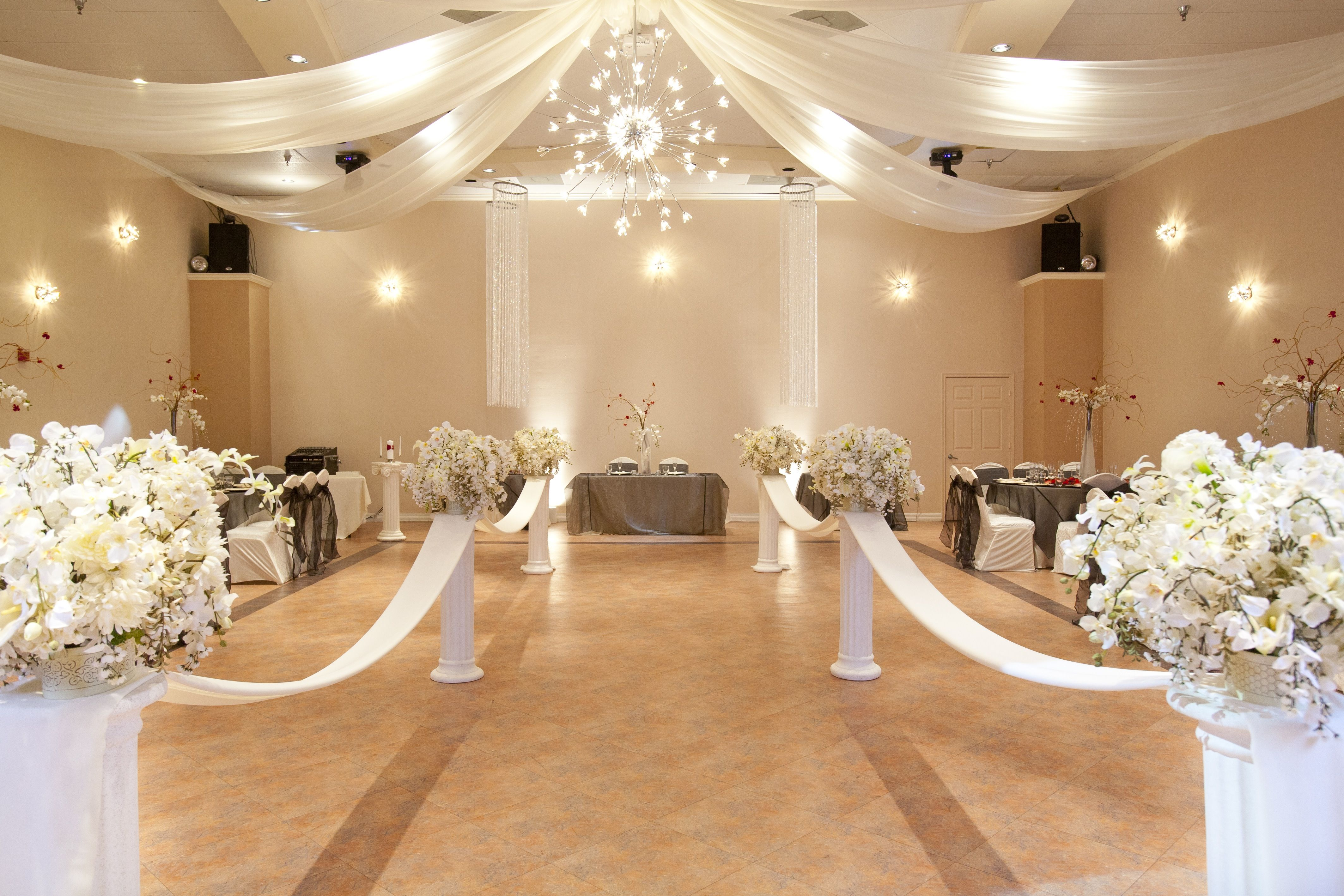 Wedding hall decor committed anniversary wedding for Wedding banquet decorations