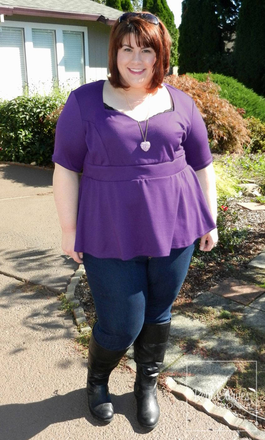 "7cef911f62 Blogger  Hailey  Discourse of a Divine Diva  (5 9"") doubled her cuteness by  sporting our plus size Posh Ponte Peplum Top two different ways."