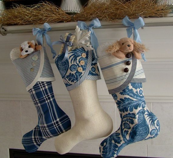 Blue  White Christmas Stocking No 1 with by SouthHouseBoutique