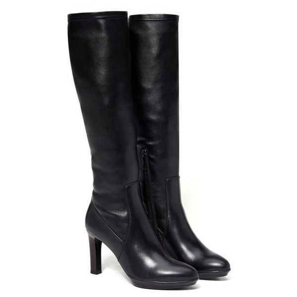 Aquatalia Rumbah (£595) ❤ liked on Polyvore featuring shoes, boots, black, knee-boots, black over the knee boots, black leather knee high boots, black leather boots, black knee boots and knee high boots