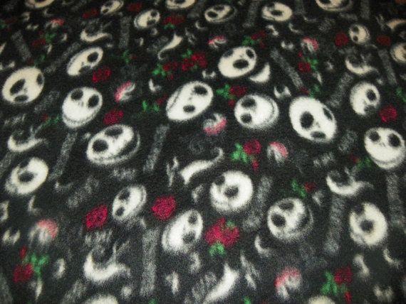 nightmare before christmas fleece fabric by the yard the darkside on etsy 1100 - Christmas Fleece