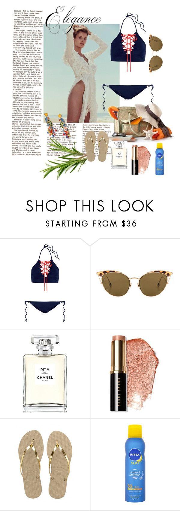 """Elegance Beach"" by sylperes on Polyvore featuring moda, Jonathan Simkhai, Ahlem, Chanel, Bobbi Brown Cosmetics, Havaianas, Nivea e Tory Burch"