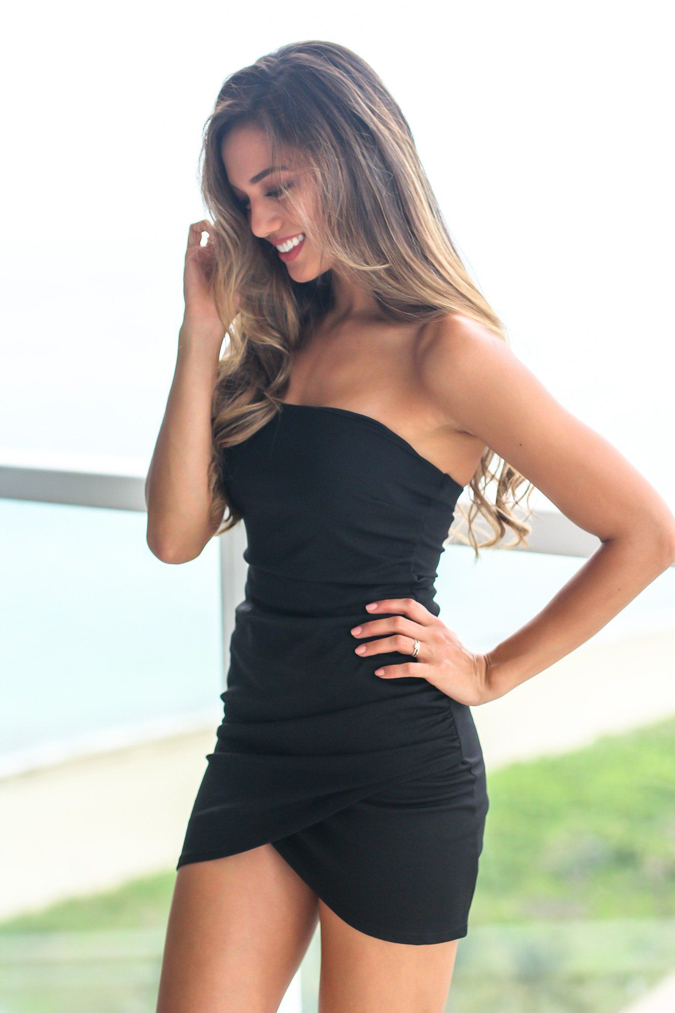 Black Strapless Short Dress With Ruched Side Strapless Dresses Short Tight Fitted Dresses Dresses [ 2047 x 1365 Pixel ]