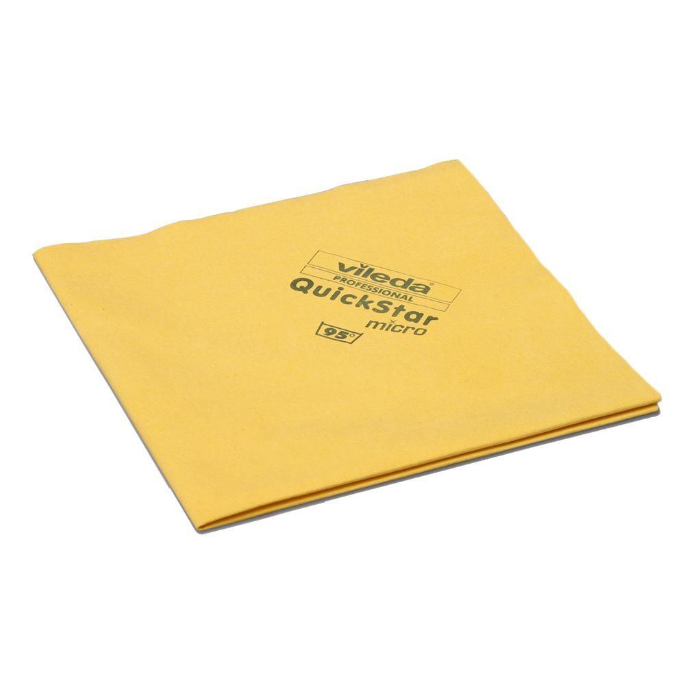 Vileda Professional Glass Cloth.Vileda Professional Quickstar Microfiber Cloth Yellow Pack Of 5