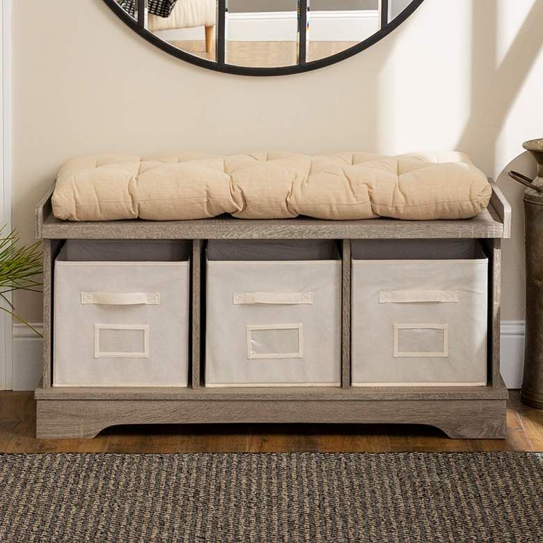 Carvallo Driftwood 3-Cubby Storage Bench with Bins - #24W10 | Lamps Plus