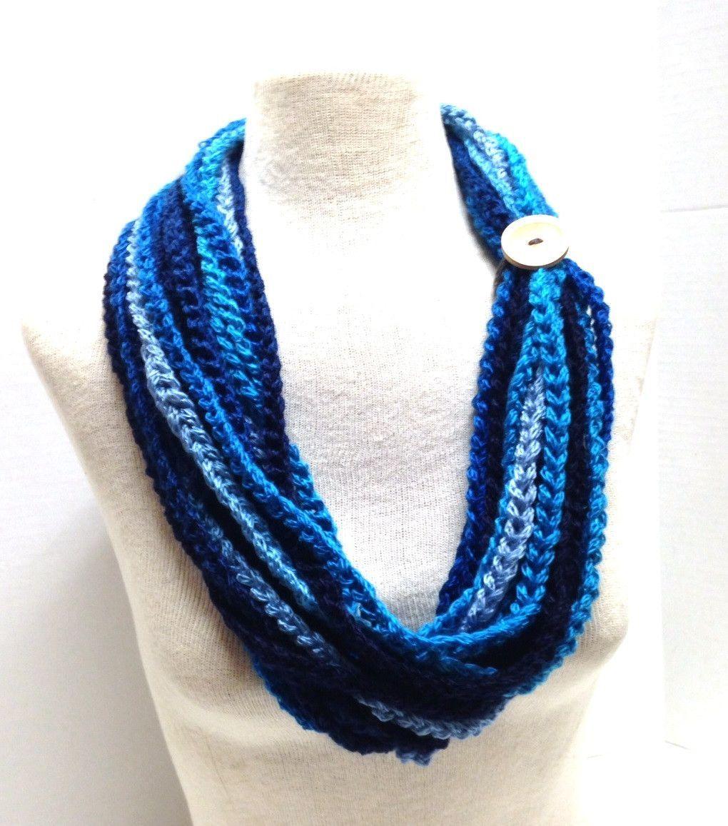 Kay\'s Crochet Rope Scarf in Bargello Blue | CUELLOS TEJIDOS ...