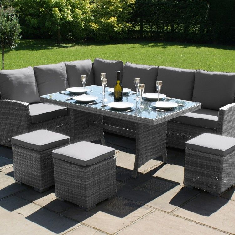 Maze Rattan Garden Furniture Kingston Grey Corner Dining Set - Maze Rattan Garden Furniture Kingston Grey Corner Dining Set