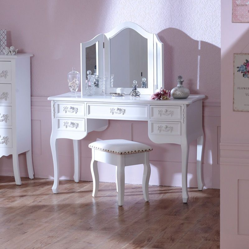 Antique Off White Wooden Painted Dressing Console Vanity Desk Table