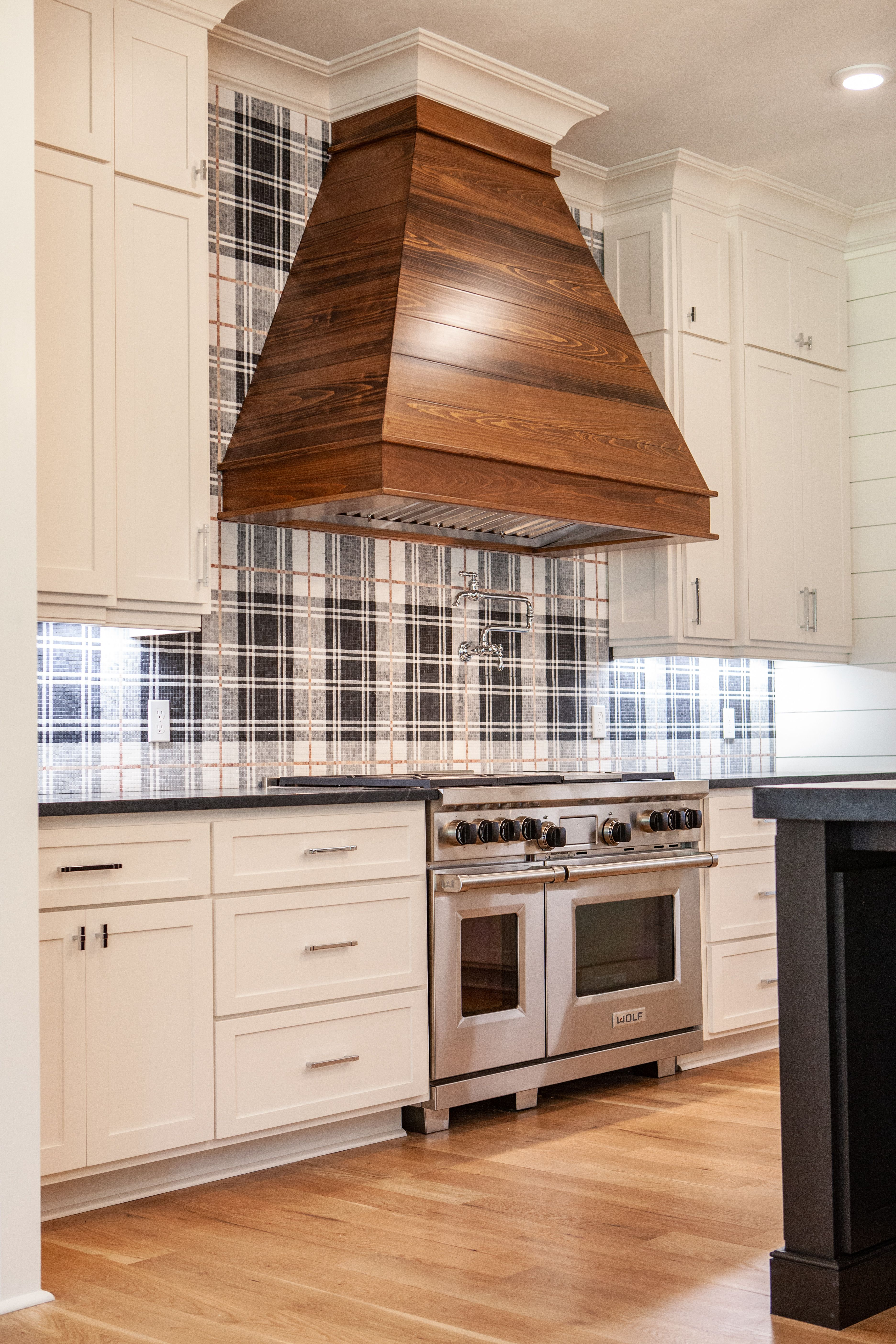 Custom cypress hood sub zerowolf appliances shiplap white oak