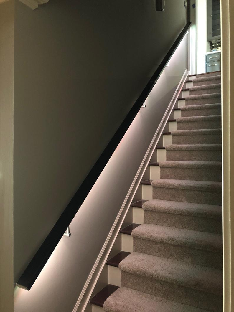 LED Square Flat Wall Mount Modern Stair Hand Rail Staircase Railing Kit - Aluminium #staircaserailings